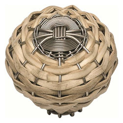 Atlas Homewares - Atlas 3152-Brn Hamptons Small Bamboo Weaved Door Knob Nickel - Atlas 3152-Brn Hamptons Small Bamboo Weaved Door Knob Nickel