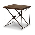 Palecek - Camden Side Table - Plantation hardwood top in dark smokey brown finish. Twisted flat metal bar base with metal rivets in grey brown distressed tones. Uneven planks are distressed and chiseled to give the appearance of age.