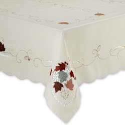 Leaf with Acorn Embroidered Oblong Tablecloth