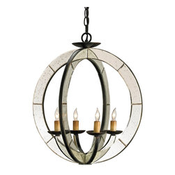 Currey and Company - Currey and Company 9400 Meridian Traditional Chandelier - Two round bars of iron and antique mirror form the sleek orb of the Meridian Chandelier. The Old Iron finish of the metal is a nice counterpoint to the flash of the antiqued mirror. This simple design with the elegance of mirror works in both traditional and contemporary settings.