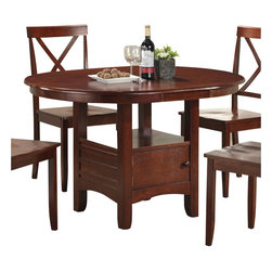 Boraam - Boraam Madison Oval Dining Table in Cherry - Boraam - Dining Tables - 21010 - This quaint table is constructed with solid hardwood and you in mind. An oval dining table such as the Madison, is not only stylish but also multifunctional. Here you'll find ideal size and design, two qualities that complement and meld with any interior decor preference. Please do notice that built into the table legs is a generously sized storage cabinet. This cabinet gives you extra space to fulfill all types of storage needs. Not to mention, the shelf on top of the cabinet also provides you with even more room to store, collect, or display. Every aspect of this table exuberates charm; the molding on the cabinet siding, the shaker carved legs, the arched frame on the bottom of the cabinet, and the rounded edges on the table top. The Madison is much more than a purchase, it's an investment.
