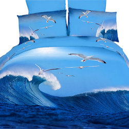 Dolce Mela - Luxury Modern Duvet Cover Set Dolce Mela DM435, Queen - Introduce a stylish makeover to your bedroom or dorm room with this beach theme bedding featuring breathtaking scenery of the mighty California surf.