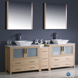"""Fresca - Fresca Torino 84"""" Modern Double Sink Bathroom Vanity w/ One Side Cabinet & Two V - Fresca is pleased to usher in a new age of customization with the introduction of its Torino line. The frosted glass panels of the doors balance out the sleek and modern lines of Torino, allowing it to fit perfectly in both 'Town' and 'Country' décor.The Fresco Torino bathroom vanity is 84"""" wide and 35.75"""" high, and boasts 18.13"""" deep under-sink storage space – perfect for towels and other bathroom necessities. This bathroom vanity is completed with a 31.5"""" wide x 31.5"""" high x 1.25"""" deep wall mounted mirror for optimal function and style.Items included: Main Vanity Cabinet(s), Countertop(s), Vessel/Integrated Sink(s), Mirror(s), Faucet(s), P-Trap and Pop-Up Drain(s), Standard hardware needed for installation.DecorPlanet is proud to offer Fresca Bathroom products. Fresca is a leading manufacturer of high-quality vanities, accessories, toilets, faucets, and everything else to give you the freshest bathroom in the neighborhood. Fresca is known for carrying the latest and most popular styles in modern and contemporary bathroom design that are made with high quality materials and superior workmanship"""