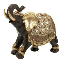 "BZBZ69477 - Indian Style Polystone Decorative Elephant with Gold Accents - Indian Style Polystone Decorative Elephant with Gold Accents. Add ethnic Indian style to your home interiors with this Polystone Elephant that features a stunningly realistic appearance. It comes with the following dimensions 16""W x 5""D x 12""H."