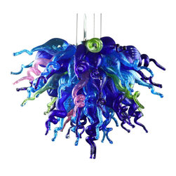 Viz Glass, Inc. - Wonders of the Sea Chandelier - Create a marine-inspired look in your dining room using the large Wonders of the Sea Chandelier. This eye-catching piece is handblown from Italian Glass and features a cluster of vivid cobalt, aqua, pink and lime green spiral pieces. Variations may occur in individual pieces. Maximum height is 125 inches. Includes six 5 watt LED G9 bulbs. UL listed. Hardwire; professional installation recommended.