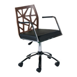 Eurostyle - Sophia Office Chair-Wal/Chrm/Blk - Need an inspiring workspace? Start with a new office chair that's as creative as you. This chair has an intriguing cutout back and a cushioned faux leather seat that will keep you comfortable as you dream up your next big idea.