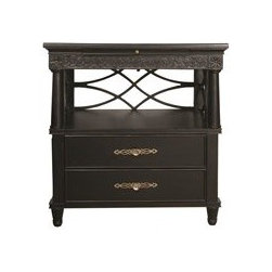 Homeworks - Haley Nightstand - Two drawers; Built-in 3-way touch nightlight; Built-in AC outlets; Pullout drink tray