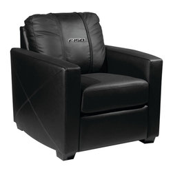 Dreamseat Inc. - Ford F150 Xcalibur Leather Arm Chair - Check out this incredible Arm Chair. It's the ultimate in modern styled home leather furniture, and it's one of the coolest things we've ever seen. This is unbelievably comfortable - once you're in it, you won't want to get up. Features a zip-in-zip-out logo panel embroidered with 70,000 stitches. Converts from a solid color to custom-logo furniture in seconds - perfect for a shared or multi-purpose room. Root for several teams? Simply swap the panels out when the seasons change. This is a true statement piece that is perfect for your Man Cave, Game Room, basement or garage.