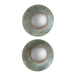 Uttermost - Uttermost Forbell Aged Round Mirrors Set of 2 13860 - Metal, concave frame finished in a distressed, aged green with an antiqued gold inner lip and a convex mirror.