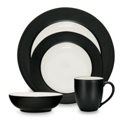 Noritake - Noritake Colorwave Graphite Rim 4-Piece Place Setting - A splash of color can create a wave of excitement at the dinner table. Ultra-modern stoneware sports a matte graphite glaze on the rim of the dinner and salad plates and exteriors of the bowl and mug.