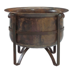 """Jatex International - Handcrafted Rustic Acadia Outdoor Fire Pit- 100% Copper Bowl, Iron Accents, 31"""" - This rustic, sturdy fire pit adds a touch of minimalist elegance to any outdoor space. Featuring a design exclusive to Jatex International, the deep copper bowl radiates intense heat, perfect for cozying up to on cool summer nights. With exposure to the elements the copper will age for a natural verdigris effect, making your piece truly one of a kind."""