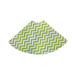 "5 Surry Lane - Green White Zig Zag Holiday Tree Skirt - Designer Holiday Tree Skirt.  54"" Round.  Fully lined."