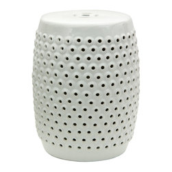 "Oriental Furniture - 18"" Hikari Ana Porcelain Garden School - This handmade porcelain garden stool features a sleek modern design inspired by traditional Japanese aesthetics. Raised knobs, each artfully open in the center, dot the surface, providing depth and dimension, while the clean white glaze brings orderliness and brightens its surroundings. With a water resistant finish and an open base, this item is also suitable for use outdoors in the garden. Be part of the latest trend in interior design with this hip and fashionable garden stool!"