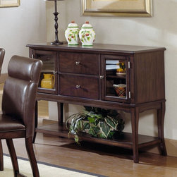 Hillsdale Furniture - Hillsdale Nottingham Server Multicolor - 4077-850 - Shop for Buffets and Side Boards from Hayneedle.com! With an urban sophisticated look the Hillsdale Nottingham Server makes a beautiful accent for almost any modern decor. It has a luxurious dark oak finish glass doors and graceful curved legs to complete its look. Two cabinets two drawers and a lower shelf provide plenty of storage space. Use this server on its own or pair it with the Nottingham dining set (sold separately) to give your dining room an instant upscale makeover. About Hillsdale FurnitureLocated in Louisville Ky. Hillsdale Furniture is a leader in top-quality affordable bedroom furniture. Since 1994 Hillsdale has combined the talents of nationally recognized designers and globally accredited factories to bring you furniture styling and design from around the globe. Hillsdale combines the best in finishes materials and designs to bring both beauty and value with every piece. The combination of top-quality metal wood stone and leather has given Hillsdale the reputation for leading-edge styling and concepts.