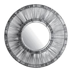 Lazy Susan - Black Split Rattan Spoke Mirror - -Handcrafted