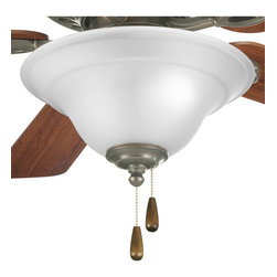 Progress Lighting - Progress Lighting P2628-20 Trinity Three-Light Antique Bronze Ceiling Fan Light - Three-light fan kit in Antique Bronze finish with an etched glass bowl from the Trinity Collection. Corresponding pull chain features Antique Brass finish with walnut fob. Quick-connect wiring makes it easy to install to a fan that accept an accessory light. Gracefully exotic, the Trinity Collection offers classic sophistication for interiors.