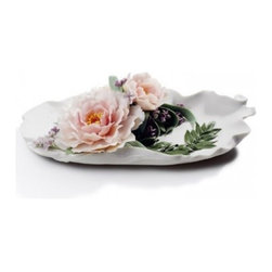 """Lladro Porcelain - Lladro Tray With Peonies - Plus One Year Accidental Breakage Replacement - """"Hand Made In Valencia Spain - Limited To: 500 Pieces Worldwide - Included with this sculpture is replacement insurance against accidental breakage. The replacement insurance is valid for one year from the date of purchase and covers 100% of the cost to replace this sculpture (shipping not included). However once the sculpture retires or is no longer being made, the breakage coverage ends as the piece can no longer be replaced. """""""