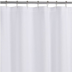 Pebble Matelasse White Shower Curtain - Pristine white spa shower curtain from Portugal is textured with an elaborate pebbled pattern on 365-gram cotton.