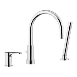 Remer - Three Piece Deck Mounted Tub Filler With Hand Shower - This three piece deck mounted tub filler comes with spout, diverter/handle, and hand shower.