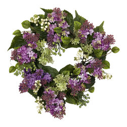 Nearly Natural - Nearly Natural 20 inches Hanel Lilac Wreath - A circle of springtime delight ' that's what we have here! Literally an explosion of colors and textures, this Lilac wreath combines beautiful Hanel Lilac blooms in various colors/stages of maturity, berries, and verdant leaves, all woven together in ring of beauty that never ends! At 20', it's also the perfect size for almost any room that needs a little sunshine.