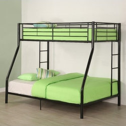 "Home Loft Concept - Sunrise Twin over Full Bunk Bed with Built-In Ladder - Elegance and function combine to give this contemporary bunk bed a striking appearance. The design gives a stylish modern look crafted with durable steel framing. Designed with safety in mind, the bed includes full length guardrails and a sturdy integrated ladder. Great for any space-saving design needs. Features: -Does not include mattresses or bedding.-Stylish contemporary design.-Conforms to the latest consumer product safety standards.-Ideal space saving design.-Maximum recommended upper mattress thickness of 9"".-Sturdy construction.-Attractive lead free powder coated finish.-Distressed: No.-Hardware Finish: Metal.-Powder Coated Finish: Yes.-Gloss Finish: Yes.-Frame Material: Steel.-Number of Items Included: Bed frame.-Hardware Material: Metal.-Stain Resistant: No.-Scratch Resistant: No.-Configuration: Twin over full.-Mattress Included: No.-Boxspring Required Top Bed: No.-Converts to Two Beds: No.-Slat System Included: Yes.-Guardrail(s) Included: Yes.-Trundle Bed Included: No.-Ladder Included: Yes -Ladder Location: Side..-Casters: No.-Slide: No.-Headboard Storage: No.-Also Suitable for Adults: Yes.-Weight Capacity Top Bed: 250 lbs.-Weight Capacity Bottom Bed or Futon: 300 lbs.-Swatch Available: No.-Commercial Use: No.-Product Care: Wipe with dry / wet cloth.Specifications: -ISTA 3A Certified: Yes.Dimensions: -Overall Product Weight: 108 lbs.-Overall Height - Top to Bottom: 68"".-Overall Width - Side to Side: 58"".-Overall Depth - Front to Back: 80"".-Distance Between Top and Bottom Bunk: 43.5"".-Bottom of Lower Bunk to Floor: 8"".-Headboard Height Top to Bottom: 15"".-Footboard Height Top to Bottom: 15"".-Mattress: No.-Built In Desk: No.Assembly: -Assembly Required: Yes.-Tools Needed: Tools provided.-Additional Parts Required: No.Warranty: -Product Warranty: 30 Day defect."