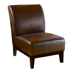 Great Deal Furniture - Brakar Brown Leather Armless Chair - The Braker Brown Slipper Chair is upholstered in smooth brown bonded leather and stands on brown wooden legs. Its size, simplicity and stylish design make this piece perfect for any small space.