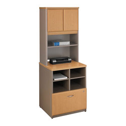 BBF - Bush Series A Storage Cabinet with Hutch in Light Oak - Bush - Storage Cabinets - WC64323PKG1 - Bush Series A Storage Cabinet in Light Oak/ Sage (included quantity: 1) Features: