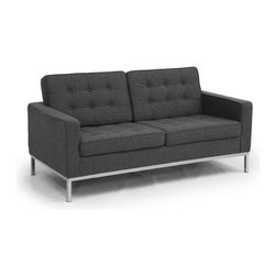 Kardiel Florence Knoll Style Loveseat, Charcoal Cashmere Wool - The Florence Knoll Sofa, Chair and Loveseat is a design icon. The original design was conceived in 1956 by Florence Knoll, a world class architect and designer. It is a relatively simple design as it was originally meant to complement the classic innovations of Saarinen and Bertoia. The Knoll philosophy of furniture design solves practical and aesthetic design problems. The philosophy results in minimalist beauty, lasting durability and luxurious comfort in one complete package. It is well known that Knoll studied and collaborated with Mies Van Der Rohe. Knoll designed the classic trio using a durable stainless steel frame with minimal materials. Cubic cushions featuring compressed buttons in a purposeful and logical layout provide style and comfort to the supporting thin armed, minimalist frame. Do you notice the similarities in design philosophy to the Mies Van der Rohe's Barcelona Chair? The Knoll Sofa, Love and Chair is becoming even more popular as its minimalist yet functional de