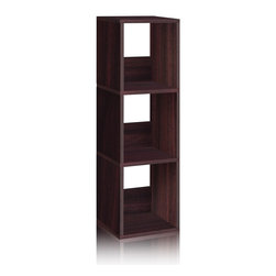 Way Basics - Way Basics Eco 3 Shelf Trio Narrow Bookcase, Espresso - The Trio Narrow Shelf will complement and organize any space in your home with its simplistic, modern design! It's unique tool free assembly & endless possibilities make it an essential piece for the home.