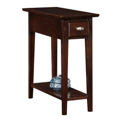 Leick Furniture - Leick Furniture Chairside-Recliner End Table in a Chocolate Oak Finish - Leick Furniture - End Tables - 10071CH - Functional yet compact a narrow end table that will fit anywhere.  Made from Durable solid woods with a beautiful hand applied multi-step chocolate oak finish.  Storage drawer for remote controls and a lower display shelf for books or your favorite decor item.  Set your living room apart with the Leick Chocolate Chair side/Recliner Table and add the matching storage coffee table (10070CH) and console table (10075CH).