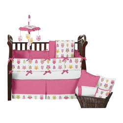Sweet Jojo Designs - Happy Owl 9-Piece Baby Crib Bedding Set by Sweet Jojo Designs - The  baby bedding by Sweet Jojo Designs includes: comforter, bumper, dust ruffle, fitted sheet, toy bag, pillow, diaper stacker and 2 window valances.