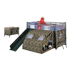 Adarn Inc. - Boys Fun Play Lofted Twin Bunk Bed with Slide Camouflage Tent Black Metal Frame, - This fun loft bed will be a welcome addition to your child's bedroom. Create a cool fort for your little one with this lofted twin size bed. The simple tubular metal frame offers sturdy support, with safety side guard on all sides. An attached ladder makes it easy to climb to the top, while a slide offers a great way to get back down! A tent covers the opening below the bed, for a fun spot to play with toys, read a book, or play hide and seek. Available in a bold multicolor or black with camouflage, this cool tented bunk bed will quickly become a favorite in any child's home.