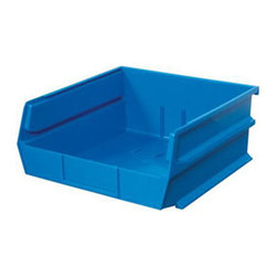 "Triton Products - Stacking, Hanging, Interlocking Polypropylene Bins, 10 7/8"" X 11"" X 5"" Blue - The 3-235 series is our second largest and widest Stacking, Hanging, Interlocking Polypropylene Bin system. They are commercial grade high density polypropylene and are available in yellow, red and blue. Unique dual interlocking channel system slides and locks bins together guaranteeing bins will not collapse, cave in or topple into one another."