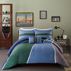 Mi-Zone - Mizone Curtis 4-piece Comforter Set - Upgrade the bedroom room with the Mizone Curtis Comforter Set. These bold slices of blue,grey and green are separated by thin white stripes and repeated again on the sham for a gorgeous look.