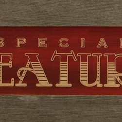 """MyBarnwoodFrames - Special Feature Primitive Rustic Media Room Wall Decor Sign, 22x10 - Special Feature Framed Print in rustic reclaimed wood frame. With the nostalgic look and feel of an authentic cinema sign, this """"Special Feature"""" print has barn red color tones and is framed in authentic salvaged wood with lots of nail holes, knots, and extra character. Perfect for your media room wall decor."""