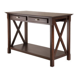 """Winsome - Xola Console Table with 2 Drawers - Xola line is named for the contemporary X design for occasional tables. Solid and composite wood sturdy constructions; it is finished in rich cappuccino stain. The console/hall table is 45""""L x 21"""" W x 30""""H. It has 2 storage drawers with brushed pewter finish pulls. The bottom shelf is meant to store books, magazines, games or display artwork.; Features: Finish: Cappuccino; Material: Solid / Composite Wood; Assembly Required?: Yes.; Dimensions: 45""""L x 21""""W x 30""""H"""