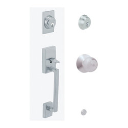 """Schlage - Century Handleset w Orbit Interior Knob in Sa - Manufacturer SKU: F62 CEN 626 ORB. Handle Type: Handleset. Handleset features a high security deadbolt, keyed on both sides and a decorative lower grip to create a grand entrance for your home. Patented adjustable through-bolt allows easy installation retrofits existing doors. Universal knob works for right or left handed doors. Limited lifetime mechanical and finish warranty. Coordinate with other orbit satin chrome products. Maximum security deadbolt offers superior protection against attacks by crowbar, hammer, wrench, saw, lock pick, and kick-in. Designed for standard door prep (fits existing pre-drilled holes). Universal latch adjusts to fit 2-3/8"""" or 2-3/4 in.. Fits 1-3/8"""" to 1-3/4"""" wood or metal doors. Finish: Satin Chrome. 2.3 in in. L x 3 in in. W x 12.1 in in. H (6.6 lb lbs)"""