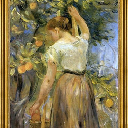 "Berthe Morisot-16""x20"" Framed Canvas - 16"" x 20"" Berthe Morisot Young Woman Picking Oranges framed premium canvas print reproduced to meet museum quality standards. Our museum quality canvas prints are produced using high-precision print technology for a more accurate reproduction printed on high quality canvas with fade-resistant, archival inks. Our progressive business model allows us to offer works of art to you at the best wholesale pricing, significantly less than art gallery prices, affordable to all. This artwork is hand stretched onto wooden stretcher bars, then mounted into our 3"" wide gold finish frame with black panel by one of our expert framers. Our framed canvas print comes with hardware, ready to hang on your wall.  We present a comprehensive collection of exceptional canvas art reproductions by Berthe Morisot."