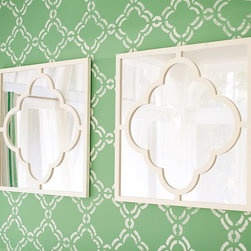 Moroccan Tile Mirror, White - Of course Pottery Barn Kids has the trend too. Not only do they have these cute Moroccan mirrors, but they also have a whole new line of gear (backpacks, lunch boxes, etc.) in a Moroccan geometric pattern.