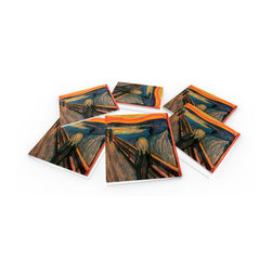"""Custom Photo Factory - Edvard Munch: The Scream Crystal Clear Glass Coaster Sets - Made in the USA. Materials: Smooth tempered glass. Set includes:  (6) drink coasters. Dimensions:  3.94"""" x 3.94"""" x 3/16"""".  Image imprinted on the backside so the item on top of the coaster is never interacting with the print surface. The crystal clarity of our glass coasters delivers reliably uniform color reproductions. Crafters, artists and interior designers will find countless ways to use the features of these glass coasters. This will be the highest quality coasters you've even seen."""