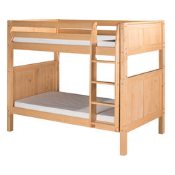 """Camaflexi - Bunk Bed with Panel Headboard - Natural Finish - When your family is growing and your space is not, Camaflexi's ultra durable Bunk Bed collection offers the perfect solution. Constructed of solid wood, the upper bunk features front and rear safety guard rails. Both beds include slat roll foundations reinforced with our unique, extra sturdy, center rail support system. The attached extra wide, grooved step Ladder and safety guard rails are interchangeable so you can position the ladder where you need it. All of our Bunk Beds are built to meet and exceed all government and industry safety standards for your ease of mind and to ensure longevity. The timeless Panel style, with our bright, """"child-safe"""" multi-step, protective white finish, will complement any room decor. Optional trundle and/or storage drawers add to this bunk's utility. Choose between open or closed foot boards with the addition of modesty panels. When needed the bunk can be separated into two individual twin beds. Flexibility is what we are all about! The Camaflexi system offers the best in sturdy, eco-friendly and healthy furniture for your growing child's needs.; The attached ladder allows easy access to Storage Drawers or Under Bed Trundle! (Drawers and Trundle Purchased Separately.); Featured in the classy Panel Style to compliment your room decor.; Child-Safe protective finish compliant with US Federal Hazardous Substances Act.; Both beds include a slat roll foundation, with our unique extra sturdy center rail support system for added longevity.; Features our unique extra deep grooved steps on ladder for added safety and comfort when climbing.; Meets and exceeds all ASTM and U.S. Government safety standards for Bunk Beds.; Covered by our One Year, Peace of Mind warranty, covering manufacturing related defects.; Constructed of 100%, all natural, solid wood.; Verifiable sustainable wood source make it both Eco friendly and healthy.; Under bed clearance from bottom of bed rail is 11 1/2"""".;"""