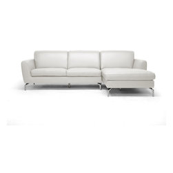 "Baxton Studio - Donovan Cream Leather Modern Sectional Sofa - The Donovan Designer Sectional Sofa is everyones new favorite spot to relax. This cream bonded leather sectional comes in two pieces: one sofa and one chaise lounge that secure together with a metal bracket. It is made in China with a wooden frame, foam cushioning, and chrome-plated steel legs with non-marking feet. All cushions are attached and non-removable. We recommend it to be wiped clean with a solvent of water and mild detergent immediately before being dried. Some assembly is required. The Donovan Contemporary Sectional is also available in pewter gray leather (sold separately). Seat dimensions: 17 "" high x 86"" wide x 21.5"" deep. Dimensions: 32"" high x 101.5"" wide x 64"" long."