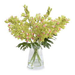 New Growth Designs - Cymbidium Orchid Arrangement, Green - Create drama in your house the easy way — with fresh (looking) flowers. Faux green Cymbidium orchid sprays look lush and decadent in any room, giving you a treat each time you pass by them.