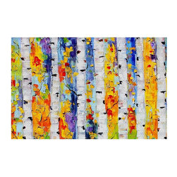 DiaNoche Designs - Area Rug by Karen Tarlton - Birch Trees - Finish off your bedroom or living space with a Woven Area Rug with a Chevron pattern weave from DiaNoche Designs. The last true accent in your home that really ties the room together. Maybe its a subtle rug for your entry way, or an artisti conversation piece in your living area, your decorative floor art will continue to dazzle for many years. MADE IN THE USA!!  Each purchase supports the artist who created the image.  1/4 inch thick. Each rug is machine loomed, washed and pre-shrunk, printed, then hemmed on the edges.   Spot treat with warm water or professionally clean. Dye Sublimation printing adheres the ink to the material for long life and durability.