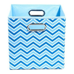 Modern Littles - Modern Littles Sky Canvas Folding Storage Bin in Zig Zag - Getting the blues is a good thing! Modern Littles brings the sky down to earth in this collection of bins that celebrates the true-blue hue.