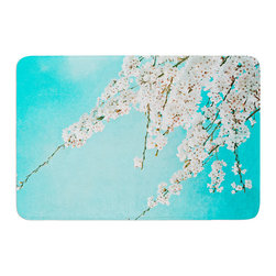 "KESS InHouse - Monika Strigel ""Hanami"" Teal White Memory Foam Bath Mat (17"" x 24"") - These super absorbent bath mats will add comfort and style to your bathroom. These memory foam mats will feel like you are in a spa every time you step out of the shower. Available in two sizes, 17"" x 24"" and 24"" x 36"", with a .5"" thickness and non skid backing, these will fit every style of bathroom. Add comfort like never before in front of your vanity, sink, bathtub, shower or even laundry room. Machine wash cold, gentle cycle, tumble dry low or lay flat to dry. Printed on single side."