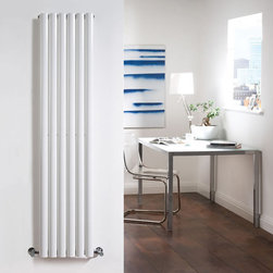 Hudson Reed - Luxury White Tall Vertical Designer Radiator Heater 70 x 14 & Valves - Hudson Reed - Revive Luxury White Vertical Designer Radiator 70 x 14With a heat output of 1,120 Watts (3,823 BTUs), this vertical designer radiator, in a fashionable white powder coat finish (RAL9016), is stylish and highly efficient, ensuring that your room is heated quickly.This luxury radiator is designed especially for use in any room, looking equally stylish in a modern or traditional setting; its six white vertical tubes bring a touch of elegance to any living space. This modern minimalist radiator is also highly functional, connecting directly into your domestic central heating system via the angled radiator valves included. This radiator comes complete with a 5 YEAR GUARANTEE.Luxury White Vertical Designer Radiator 70 x 14 Details  Dimensions: (H x W x D) 70 (1780mm) x 14 (354mm) x 2.25 (57mm) Output: 1,120 Watts (3,823 BTUs) Pipe centres with valves: 16.95 (430m) Wall to centre of tapping: 2.5 (65mm) Number of vertical tubes: 6 (1 thickness) (25mm) Fixing Pack Included (see image above) Designed to be plumbed into your central heating system Suitable for bathroom, cloakroom, kitchen etc. Please note: angled radiator valves included  Please Note: Our radiators are designed for forced circulation closed loop systems only. They are not compatible with open loop, gravity hot water or steam systems.