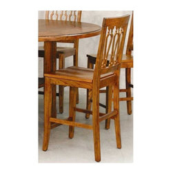 Lifestyle California - Tuscany Pierced Back Counter Height Stools / Sidechairs-2 Pc Set - Set of 2. Made from Hackberry Solids and Oak Veneers. Rustic Tuscany finish. Minimal assembly required. 18 in. W x 21 in. L x 42 in. H (50 lbs.)Tuscan country side sophistication brings the warmth of family gathering.