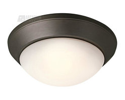 Kichler Lighting - Kichler Lighting Energy Efficient Transitional Flush Mount Ceiling Light X-LFZO2 - Clean, contemporary curves are complimented by a stylish and warm Olde Bronze finish on this energy efficient Kichler Lighting flush mount ceiling light. The soft tones of the satin etched cased opal glass shade completes the look.
