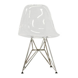 Baxton Studio - Baxton Studio Lexy Clear Accent Chair - Chair features clean, simple form sculpted to fit the body. Seat boasts thick clear acrylic shell. Wire base made from chromed steel.